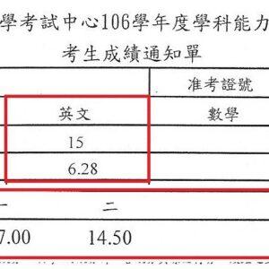 5學生Irene學測英文考科榮獲滿級分(頂標13級分)